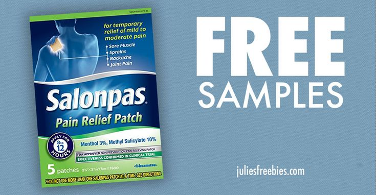 Facebook Twitter PinterestHere is an offer for a FREE Salonpas Pain Relief Patch Sample! Click the link below and get your FREE 2 count sample packet! CLAIM HERE