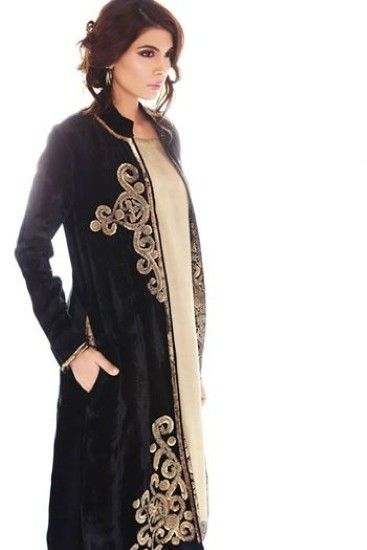 Generation Vigarette Pants Dabka Velvet Coat, Black Velvet Winter Collection | X Pakistani Fashion Clothes Dresses Collection
