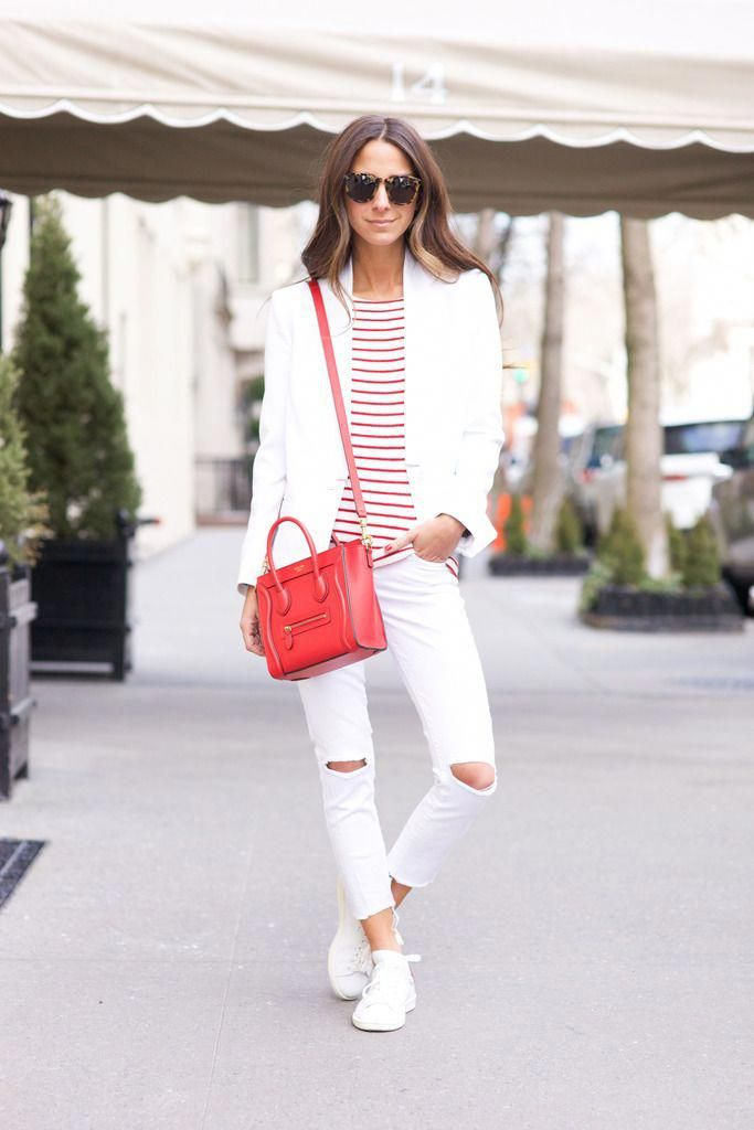 b4a112a3a00e Summer Outfit Idea  White Jeans - chambray shirt tucked into belted ...
