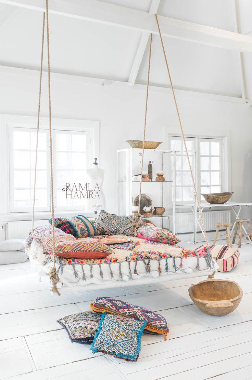 nice Beautiful Boucherouite rug and Moroccan Berber kilim pillows. www.elramlahamra.n...