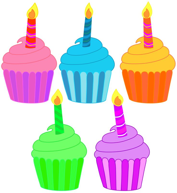 Five birthday cupcakes with a single candle. Free PNG ...