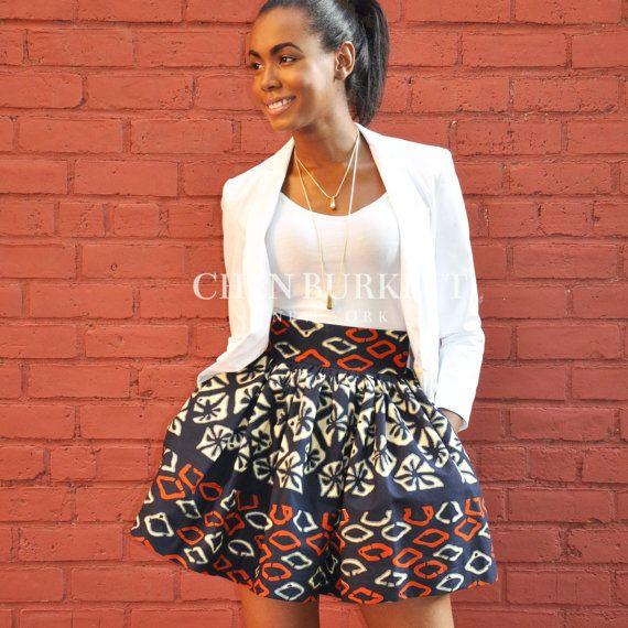 Jupe imprimée africain : Afia Mini jupe par CHENBURKETTNY sur Etsy