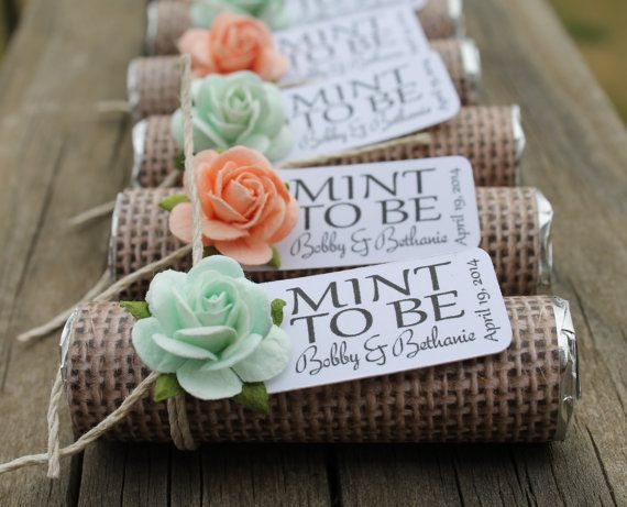Favors - Mint wedding favors. Wrap rolls of mints with burlap and attach country sunflower and tag.
