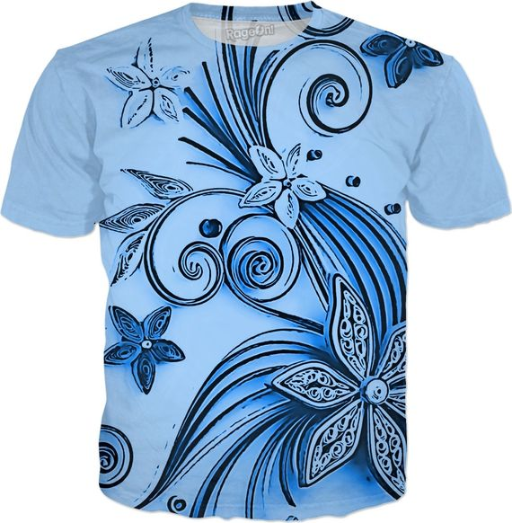 Light Blue flowers, floral ornament, cartoon design, all-over-print tee shirt - Item printed by RageOn.comProduction Time: 7-10 business daysShipping:USA: 4-10 business day... #erotic #art #prints #canvas #decor