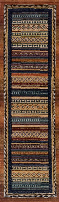 Full of contemporary charm, this rug features a striped design in warm tones—great for adding warmth to wooden floors or pattern to neutral carpets. Channeling traditional tribal design influences, this versatile rug adds a touch of exotic appeal to any home. Arrange alongside holiday souvenirs and dark wood furniture to create a well-travelled aesthetic.