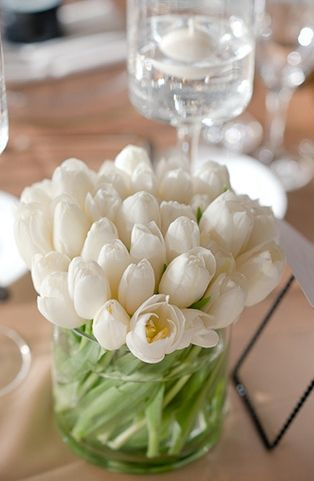 white tulipsIdeas, White Flower, White Wedding, Easter Centerpieces, Tables Centerpieces, May Flower, White Tulips, Fresh Flower, Wedding Centerpieces