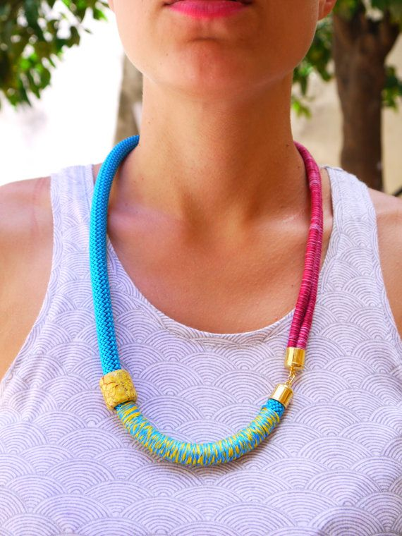 Wrapped Rope necklace /  Colorful Climbing Cord by FabLabCrafts