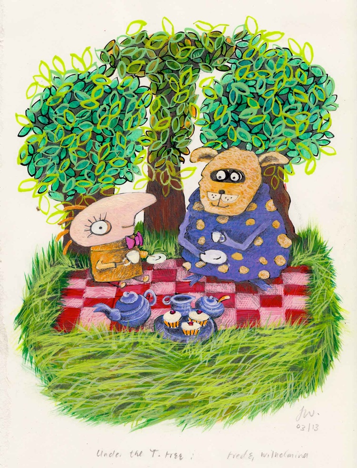 Fred+Wilhelmina, tea under the T Tree: pen, ink, gouache, pencil