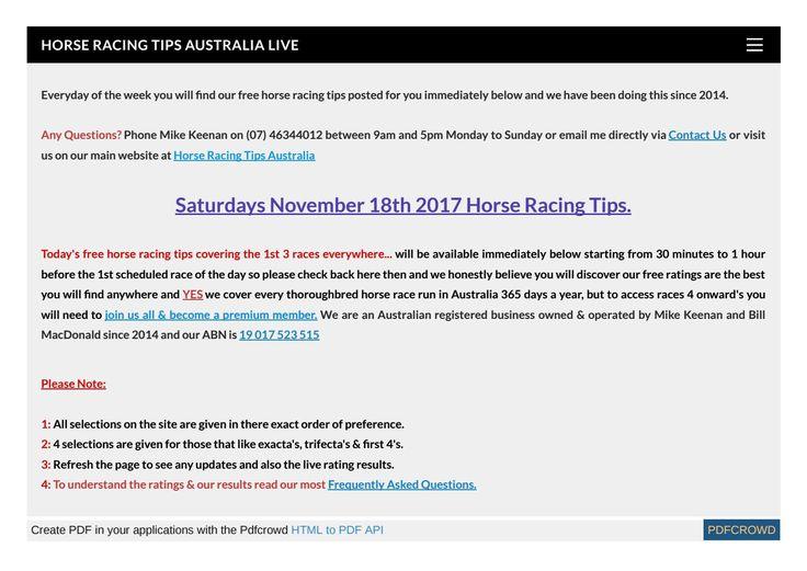 Saturdays November 18th Free Horse Racing Tips
