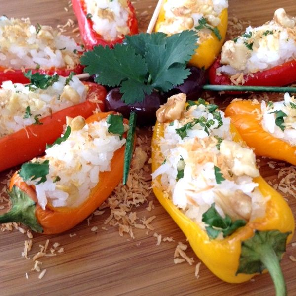 Stuffed Mini Peppers with Coconut Rice made with So Delicious Coconut Milk.