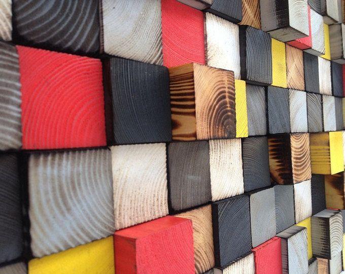 Parete in legno arte - scultura in legno - mosaico