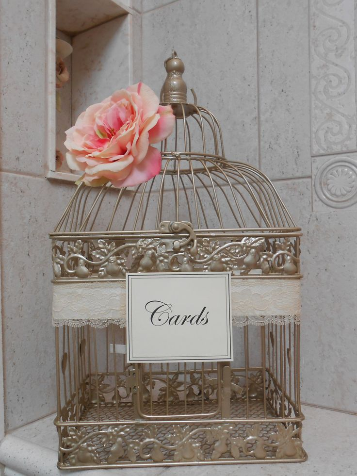 Gold Birdcage Wedding Card Holder / Card Box / by TheLaceMoon