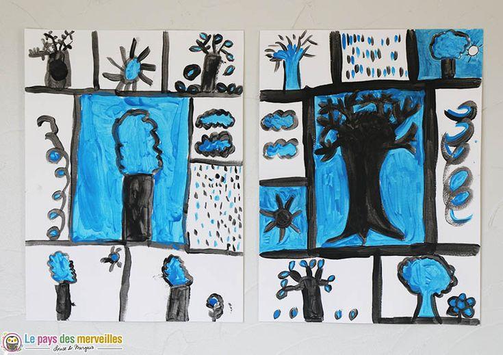 """Un arbre des saisons peint à la manière de Pierre Alechinsky, en s'inspirant de son """"arbre bleu"""" exposé sur le mur d'une facade d'immeuble à Paris."""