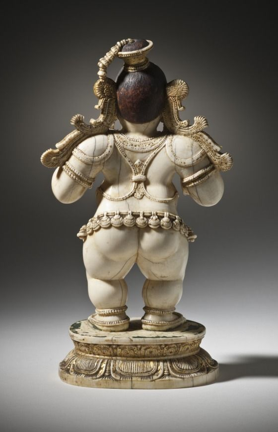 Krishna, the Butter Thief. India, Karnataka, Mysore, 16th century. Sculpture. Ivory with gilding and paint.