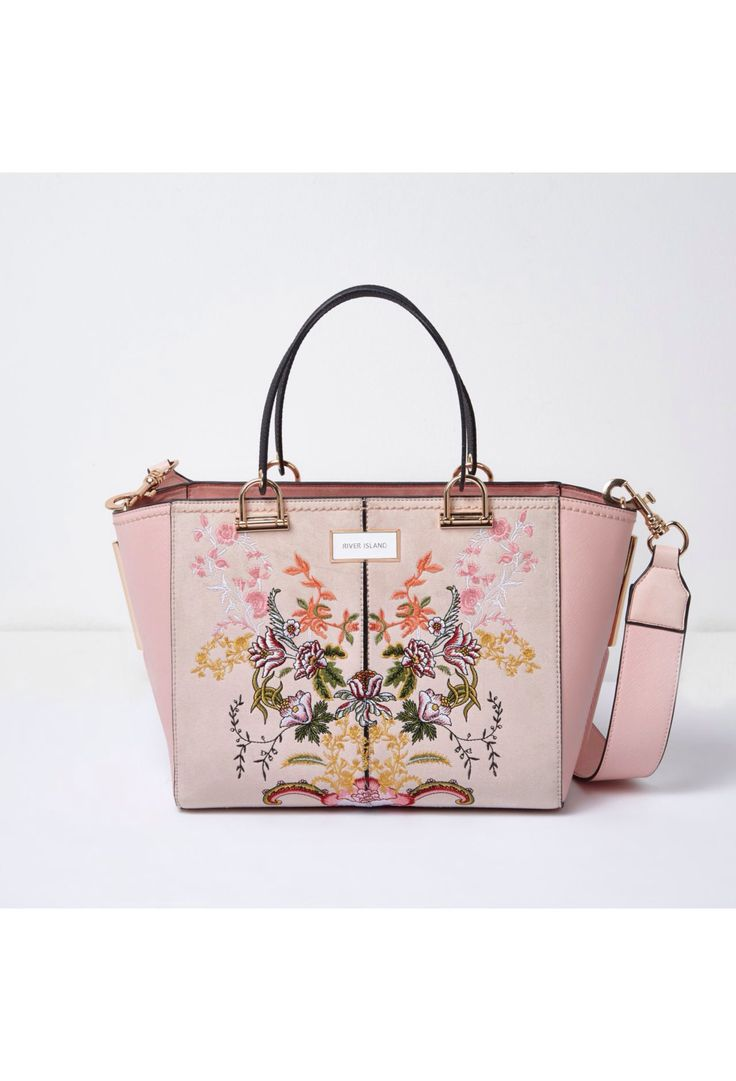 Checkout this Pink floral embroidered tote bag from River Island