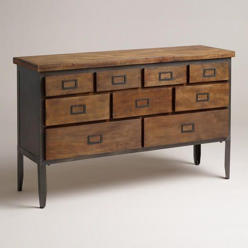 "Nomad Sideboard. World Market. $450. I actually really love this!! It's 54"" long, not sure how long we need it?!"