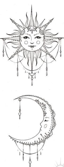 Bohemian Sun and Moon, tattoo design