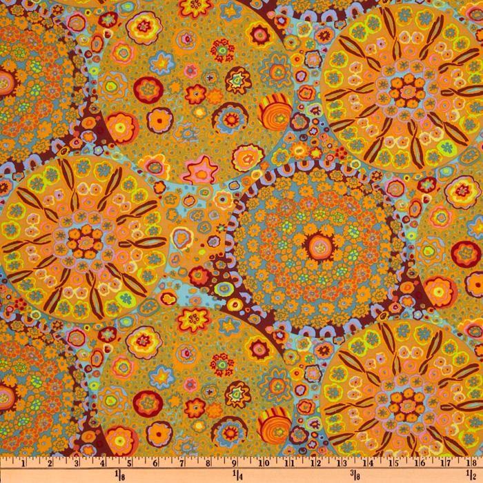 With gray - Kaffe Fassett Millefiore Orange - Discount Designer Fabric - Fabric.com
