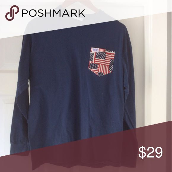 Fraternity collection American flag pocket tee VGUC - light wash wear. Fraternity collection brand. Feels similar to comfort colors. Fraternity Collection Tops Tees - Long Sleeve