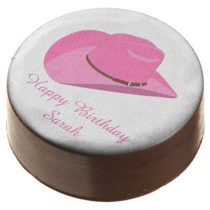 Pink Cowboy hat Chocolate Covered Oreo - western style diy unique customize stylish