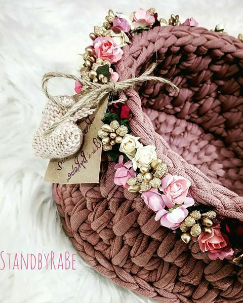 fabric crochet basket