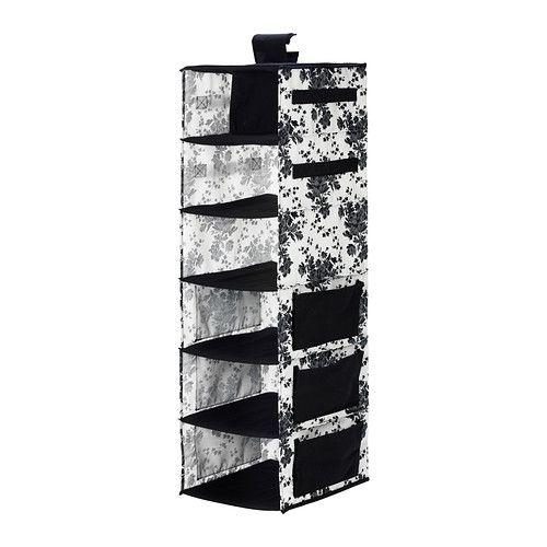 IKEA - ГАРНИТУР, Модуль для хранения/7 отделений, черный/белый цветок, , Карманы по боковым сторонам обеспечивают дополнительное место для хранения различных мелочей.Застежка-липучка – удобно вешать и перемещать.