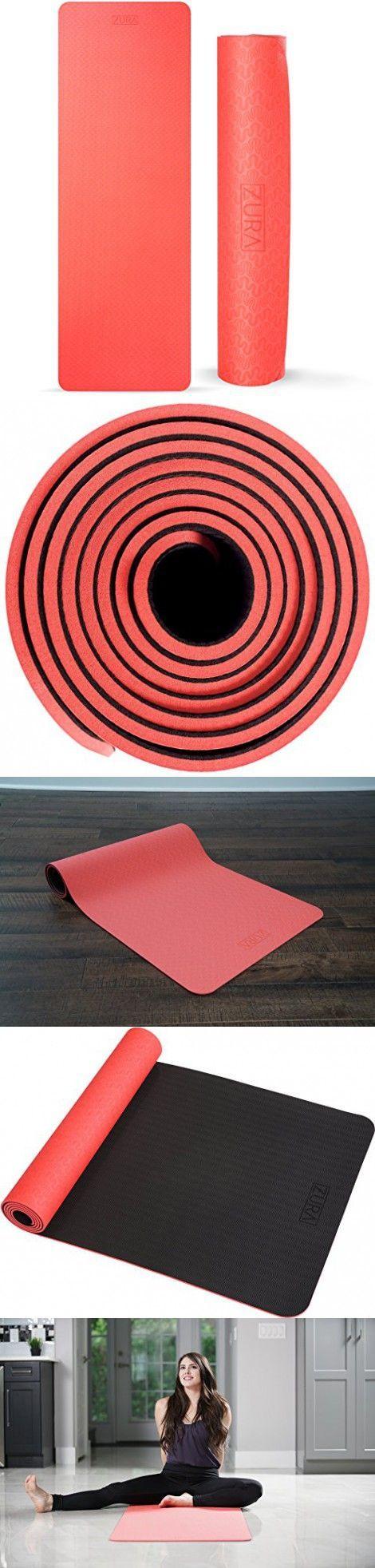 ZuraYoga Nonslip Travel Yoga Mat, Best Reversible 2-in-1 Eco-Friendly Yoga Mat - Lightweight Exercise Mat, 5 mm Thick (Red Black)