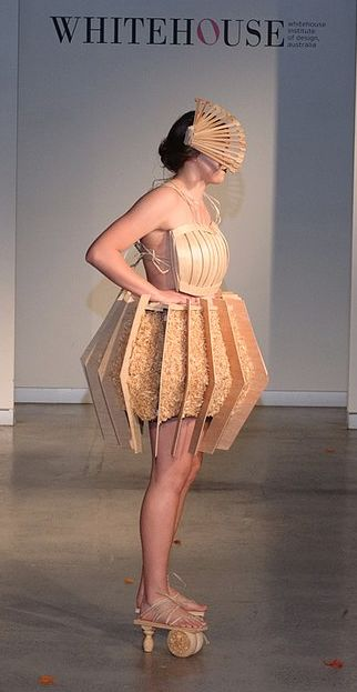 First in the Wearable Art Category at Australian Apex Teenage Fashion Awards (AATFA) with this Timber skirt with wood shavings, top and handcrafted shoes with raffia detailing. Designed and made by Isabella Ryan, modelled by Abbi Williams. #timberfashion