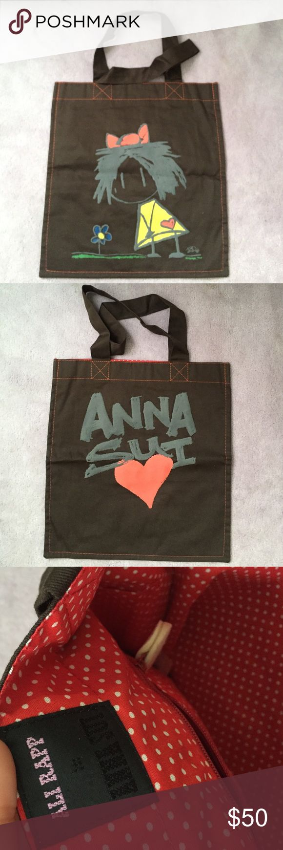 Anna Sui Canvas Tote Anna Sui Canvas FLAT Tote • made in Peru • 100% cotton • 100% Authentic • no closure • one zip pocket inside • no trades • used once, in excellent condition Anna Sui Bags Totes