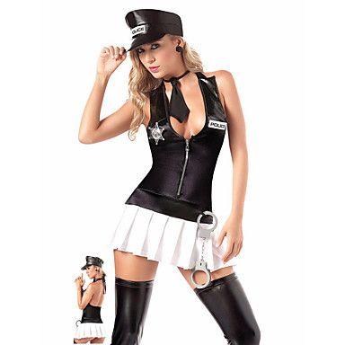 Fantasias de Cosplay Policial Cosplay de Filmes Preto Cor Única Vestido / Chapéu Dia Das Bruxas / Natal / Ano Novo Feminino Poliéster de 5282648 2016 por R$101,37