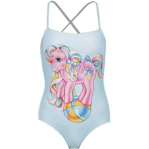 Moschino My Little Pony One Piece Swimsuit ($335) ❤ liked on Polyvore featuring swimwear, one-piece swimsuits, one piece swim suit, pink one piece swimsuit, spaghetti strap one piece swimsuit, swim suits and light blue swimsuit