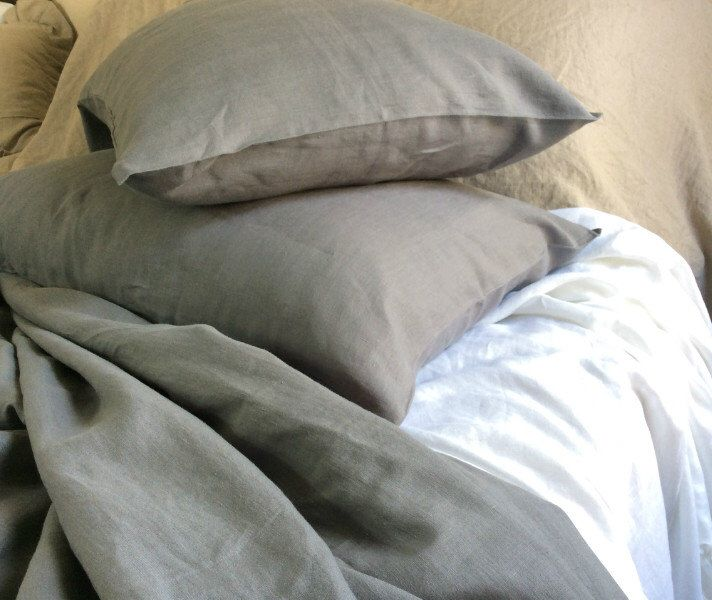 Medium grey flex linen sheets set includes linen sheet fitted sheet 2 pillow cases, Queen sheets, King Sheets, California King Sheets by CustomLinensHandmade on Etsy https://www.etsy.com/listing/234193388/medium-grey-flex-linen-sheets-set