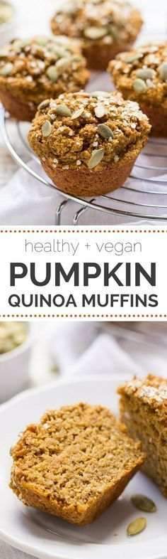 Healthy Pumpkin Quinoa Muffins - sweetened naturally, made without any oils, AND they're gluten-free + vegan. All clean eating ingredients are used for this healthy breakfast recipe. Pin now for later.