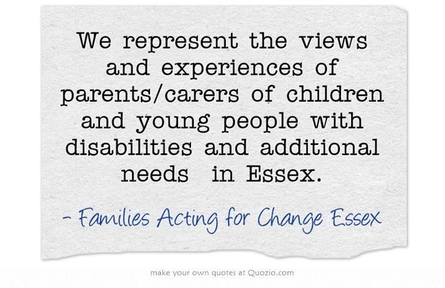 We represent the views and experiences of parents/carers of children and young people with disabilities and additional needs in Essex.