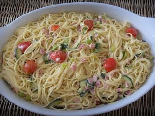 Spaghetti in Porree-Zucchini Rahmsoße