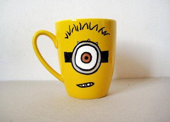 hand painted yellow ceramic mug minion mug by. Black Bedroom Furniture Sets. Home Design Ideas