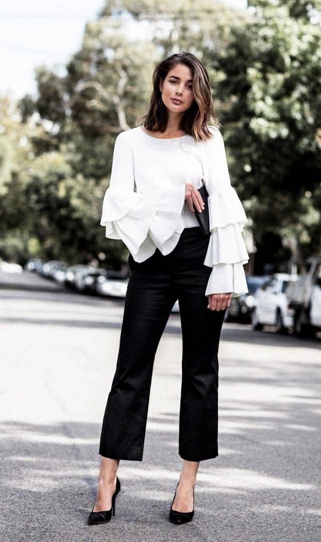 Style Tip:Pair tiered ruffled sleeves with a pair of smart trousers and pumps.