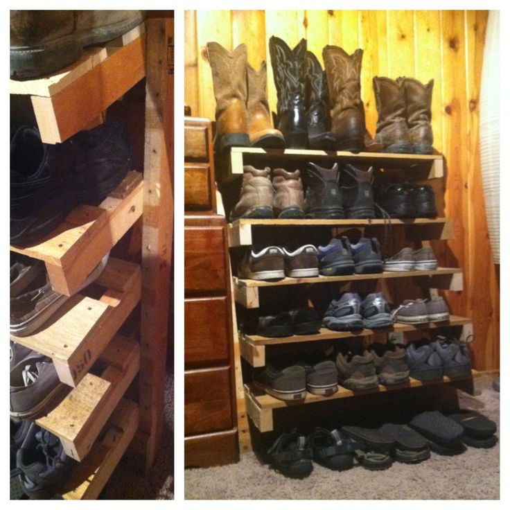 shoe rack made from an old pallet board for the home. Black Bedroom Furniture Sets. Home Design Ideas