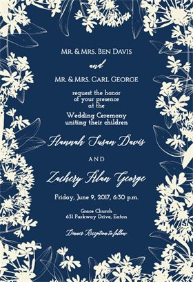 Floral Edges printable invitation template. Customize, add text and photos.  Print, download, send online or order printed!