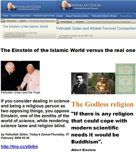 """The Turkish """"Einstein of the Islamic World"""" versus the real one.  .. Fethullah Gülen and his Atheist-Terrorist Comparison versus Albert Einstein whose verdict was that """"No religion is necessary"""" and that belief in Yahweh, Jesus or Allah is """"fatal for human progress"""" ..... http://en.fgulen.com/press-room/columns/1741-fethullah-gulen-and-atheist-terrorist-comparison."""