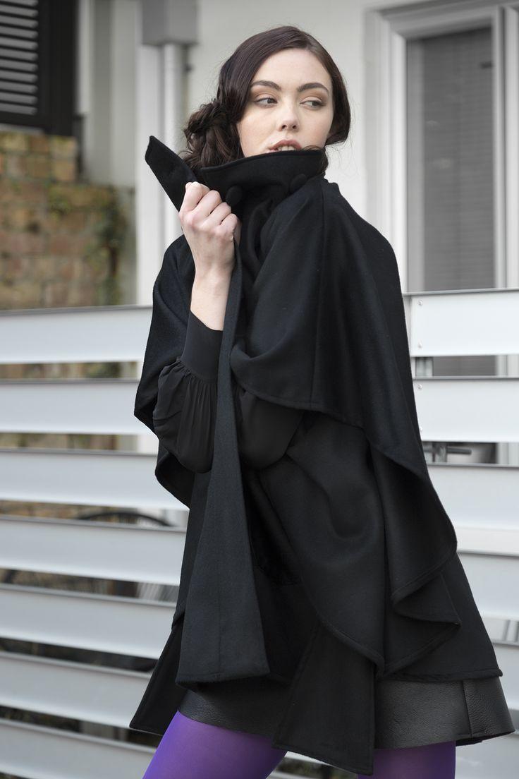 Misty Lang wool cashmere cape coat