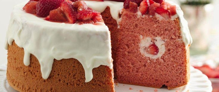 A vintage-inspired pretty-in-pink chiffon cake with fresh strawberry and rhubarb is the perfect way to celebrate.