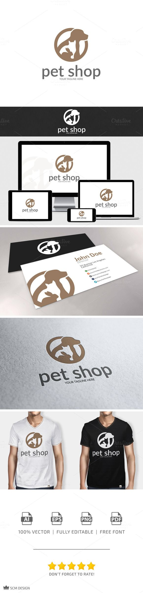 Check out Pet Shop Logo by SCM Shop on Creative Market