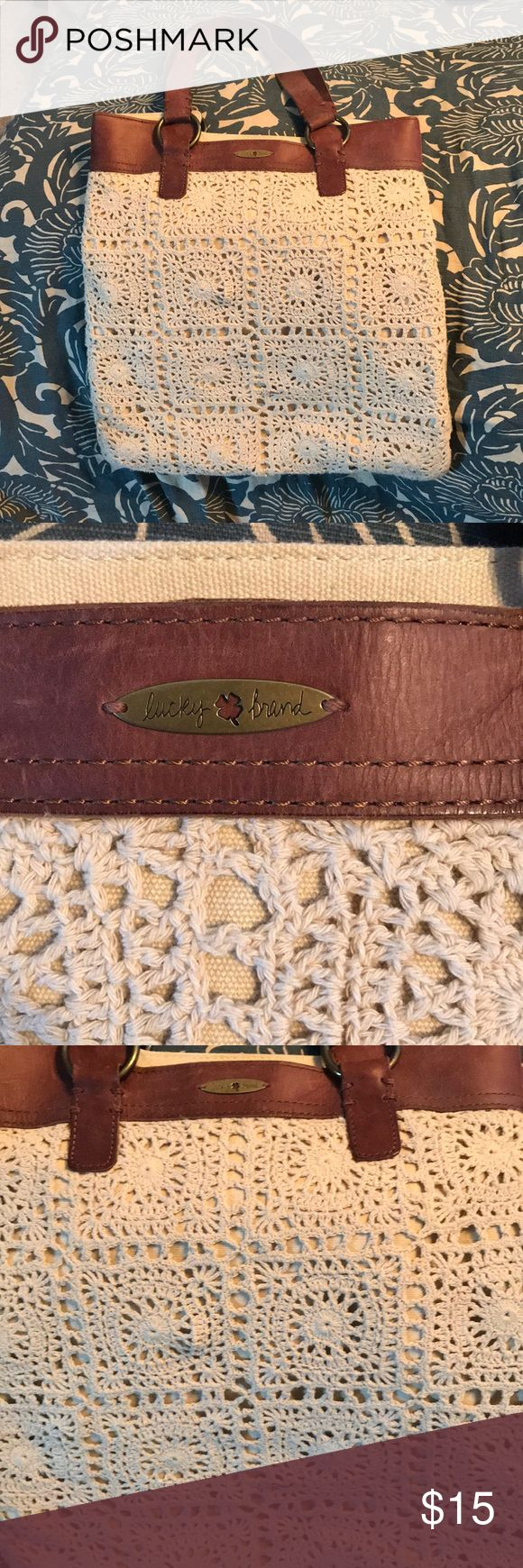 Lucky Brand crochet shoulder bag Cream colored crocheted shoulder bag. Lots of room - big enough to carry a small laptop. Great spring bag. Lucky Brand Bags Shoulder Bags