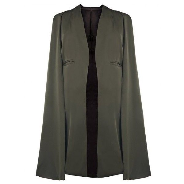 Stylish Army Green Women's Cape Coat In Army Green | Twinkledeals.com ($34) ❤ liked on Polyvore featuring outerwear, coats, cape coat, green military coat, olive green coat, olive coat and army green coat