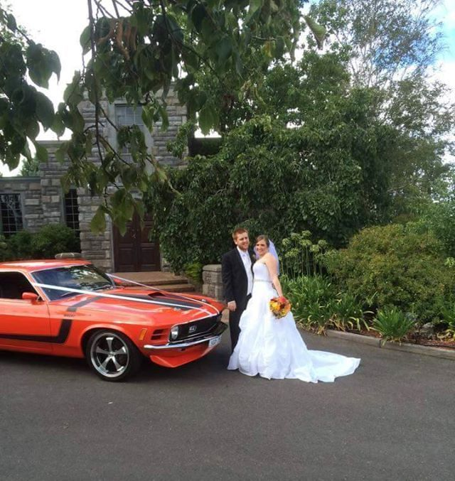 Jess and Andrew with the Mustang Mach 1 on their #WeddingDay #LimousineKing