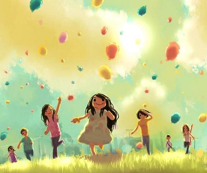 Cartoon girls and balloons illustration via www.Facebook.com/gleamofdreams