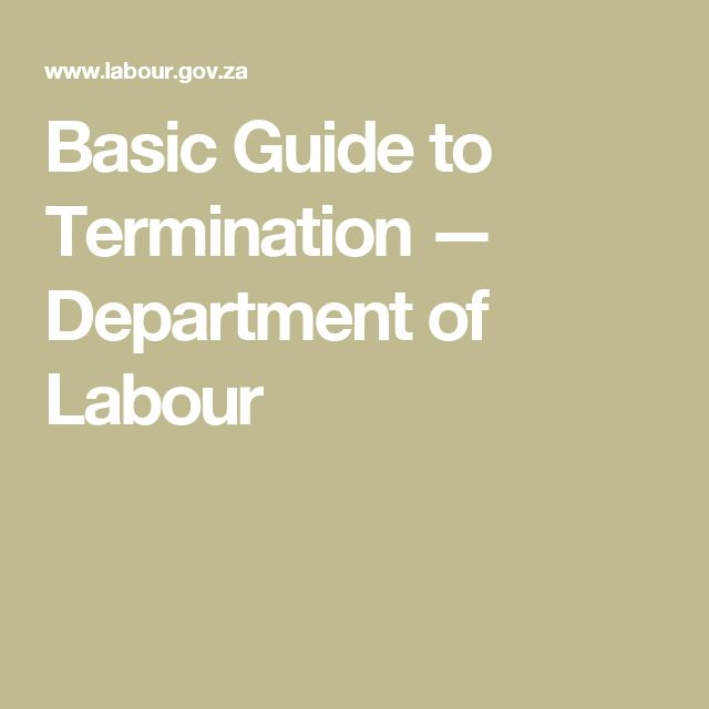Basic Guide to Termination — Department of Labour