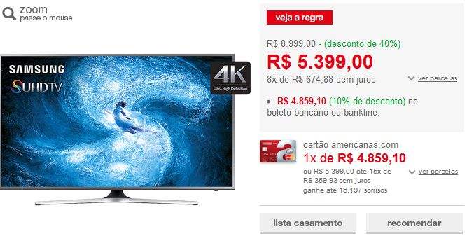 "Smart TV Nano Cristal 60"" Samsung 60JS7200 SUHD 4K com Conversor Digital 4 HDMI 3 USB Wi-Fi Função Games Quad Core << R$ 437319 >>"