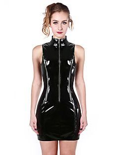 Women's+Sleeveless+High+Neck+Shiny+PVC+Catsuit++With+Zipper++Outfit+Dress+–+AUD+$+71.56